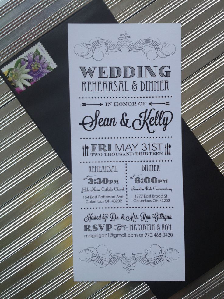 Skinny Modern Black & White Vertical Rehearsal Dinner Invitation #rehearsaldinner #affordablewedding