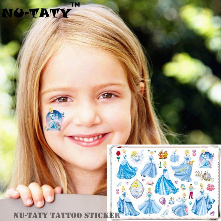 NU-TATY Cinderella Child Girl Temporary Flash Tattoo Body Art Sticker 17*10cm Waterproof painless Henna selfie tattoo stickers