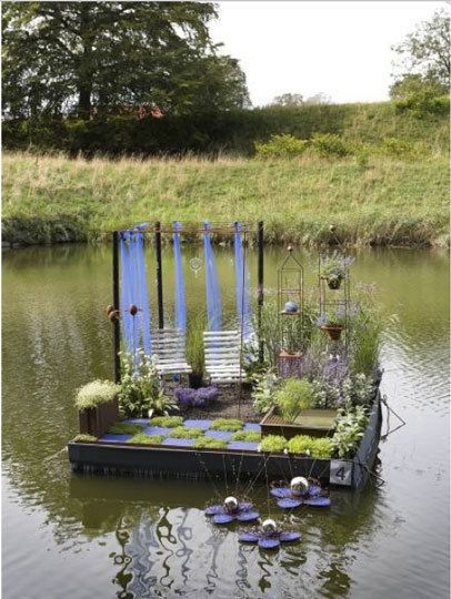 floating gardens... Landskrona, Sweden Garden Guild contest. Every August, contestants build little garden environments on a raft. And while you might not have your own moat, we could see these mini gardens as inspirations for a patio or a small yard...