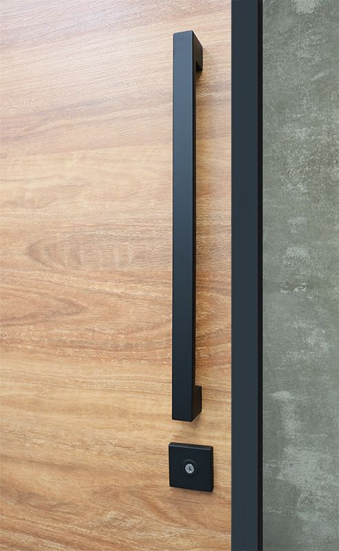 Entry pull handle set in matte black finish. Complete with everything needed for the modern door and pivot doors.  Ideal for when you want the handle to sit above the lock.