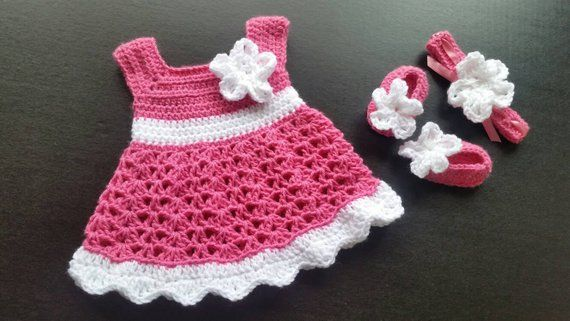 3 piece hand crafted pink  crochett dress set ~ doll clothes for reborn doll NB