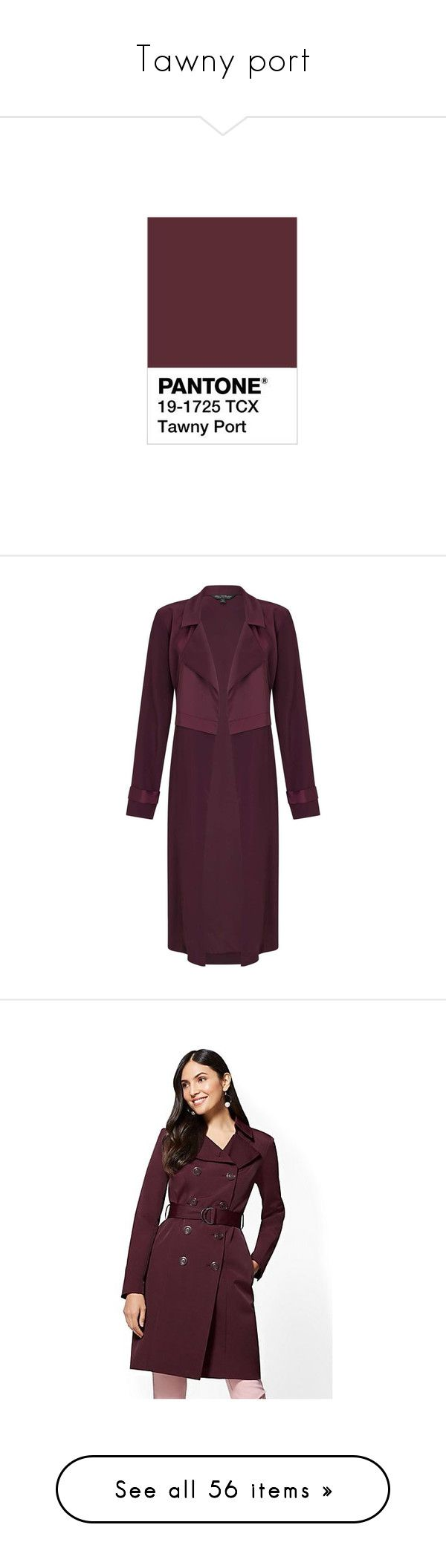 """Tawny port"" by lucia-ac ❤ liked on Polyvore featuring outerwear, coats, burgundy, duster, miss selfridge coats, burgundy coat, purple coat, shiny coat, duster coat and tie belt"