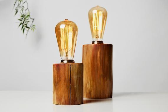 Wood Desk Lamp With Edison Light Bulb Home Office Bedside Etsy Desktop Lamp Edison Bulb Lamp Wooden Table Lamps