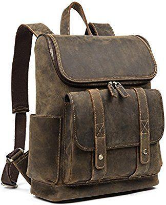 b5773ef0a9 Amazon.com  WESTBRONCO Men Backpack Best Cowhide Travel Bag College Office  Daypack Fits 15