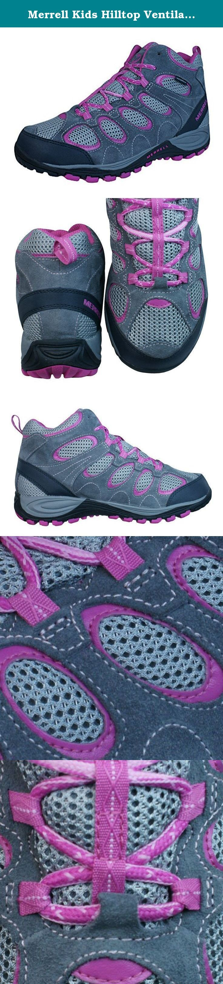 Merrell Kids Hilltop Ventilator Hiking Shoes Boots Grey/Pink 13. Merrell Hilltop Ventilator Mid WTP Girls Hiking Boots / Trainers - The Merrell Hilltop Ventilator Walking Boots utilise a stroble construction for enhanced comfort and flexibility, with a breathable and waterproof lining complete with antimicrobial treatment. Girls walking boots. Leather and textile upper.Waterproof / breathable lining. Stroble construction. Antimicrobial treatment. Merrell Air Cushion. EVA midsole.
