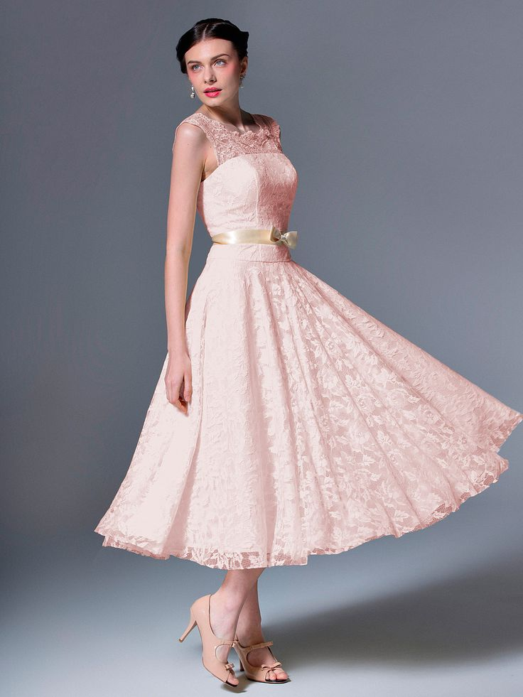 Pin to Win a Wedding Gown or 5 Bridesmaid Dresses! Simply pin your favorite dresses on www.forherandforhim.com to join the contest! | Lace Tea Length Gown $279.99