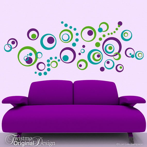 Retro Decor Vinyl Wall Decals: 72 Polka Dots and por Twistmo