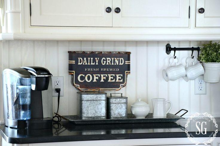 Minus the Keurig! 6 TIPS FOR A FUNCTIONAL AND FABULOUS KITCHEN- coffee station-stonegableblog.com