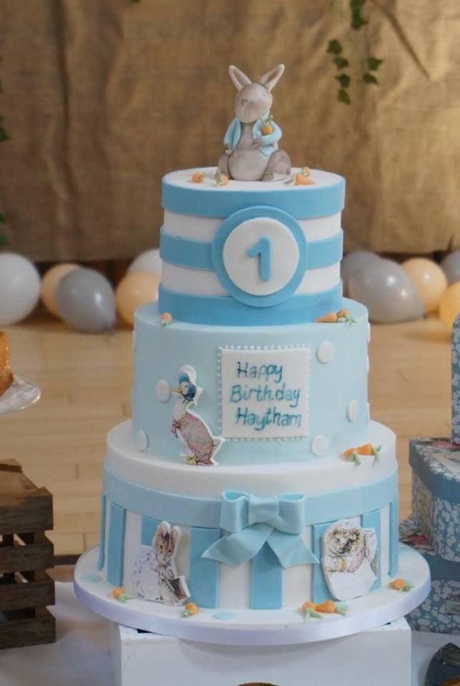 A Peter Rabbit Inspired 3 Tier Childrens Birthday Cake By Labellecakecompany
