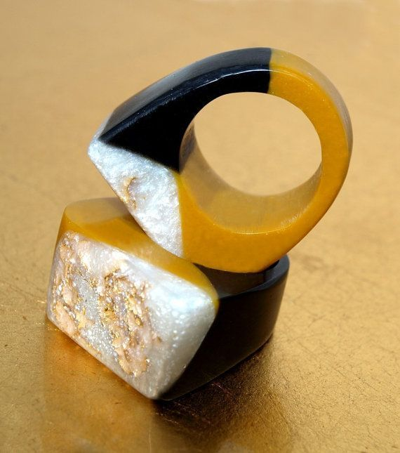 Resin Ring Boho Winter Colors Caramel Black by ResinHeavenUSA #jewelrytrends   – jewellery
