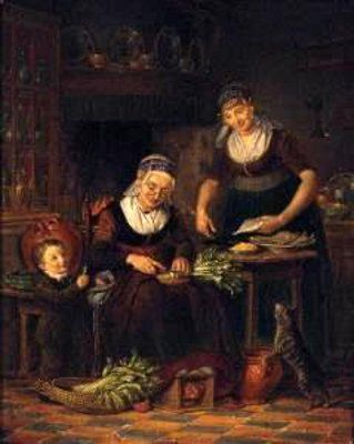 Horstok, Johannes Petrus van. Women Preparing A Meal With A Young Boy And A Cat