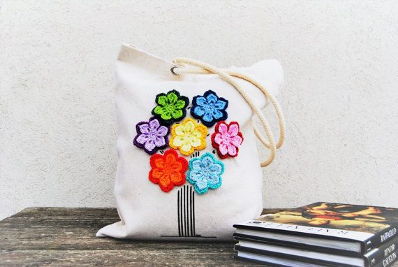 Canvas Tote bag Rainbow tree Personalized burlap tote with rope handles and  crochet flowers eco bag reusable, school bag, beach bag leisure