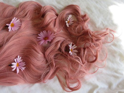 hair, flowers, and pink