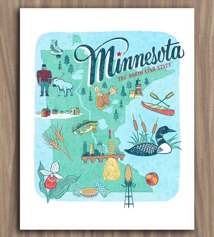 Minnesota Art Print | This hand-lettered illustration depicts everything Minnesota, ... | Posters