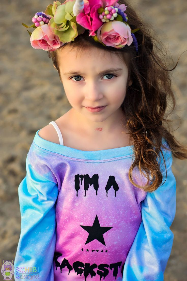 Rainbows, unicorns, and BOWIE! A magical, pastel goth, kids fashion birthday outfit! Custom fabrics, photography, and sewing fashions by Sew Chibi Designs. Chibi Blackstar!