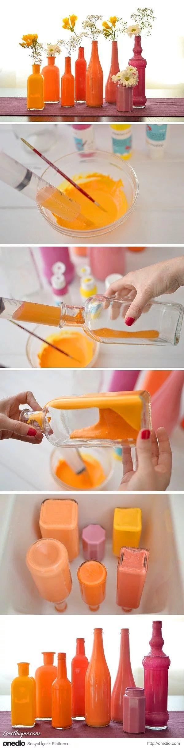 Bu renkli şişeleri nereden alıyoruz diye sormak yerine kendiniz yapmayı denemelisiniz.