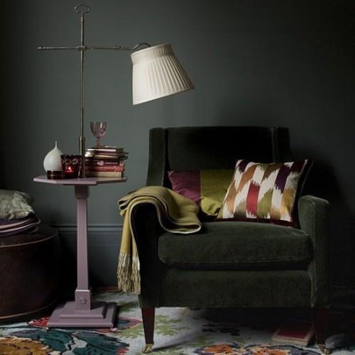 dark green velvet chair, casis purple side table, ikat pillow