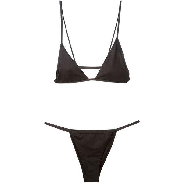 Minimale Animale 'Lucid string' bikini (1 395 SEK) ❤ liked on Polyvore featuring swimwear, bikinis, swim, underwear, black, black swim wear, swimming bikini, thong bikini, black thong bikini and bikini two piece