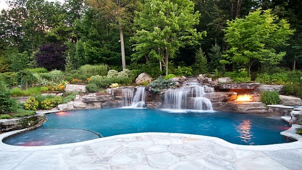 A Beautiful Backyard with A Breathtaking Pool Waterfalls : Natural Pool Waterfall
