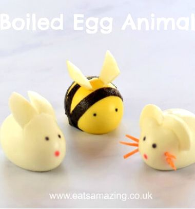DIY Boiled egg animals - bunny,mouse and bee // Állatok főtt tojásból - egér, nyuszi és méhecske (kreatív tálalás) // Mindy - craft tutorial collection