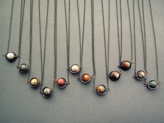 Planet Necklace Solar System Necklace Space by Chrysalism