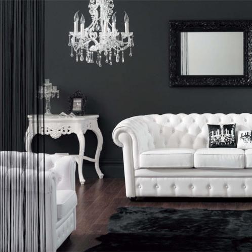Fauteuil Club Capitonne Blanc Mobilier De Salon Deco Maison Et