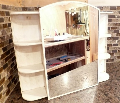 antique mid century metal bathroom medicine cabinet retro mirror arch shelves
