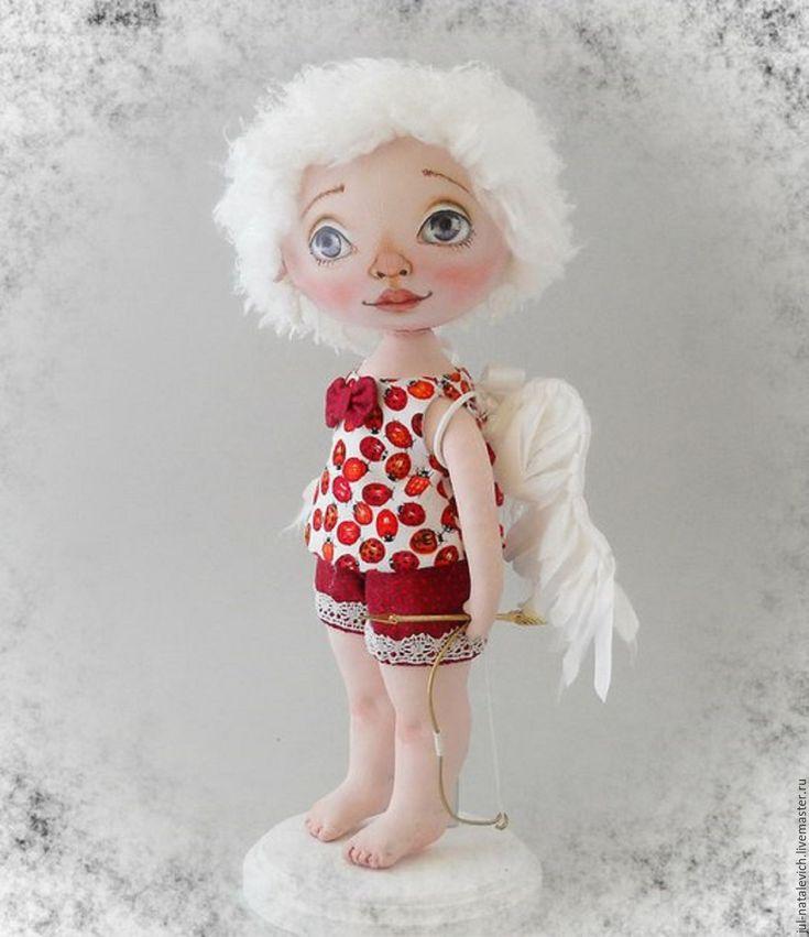 Купить Интерьерная текстильная кукла Купидоша - ярко-красный, авторская кукла, подарок