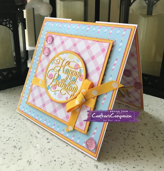 Pop-Up Card made using Sara Signature Birthday Party collection – Designed by Mel Jess #crafterscompanion
