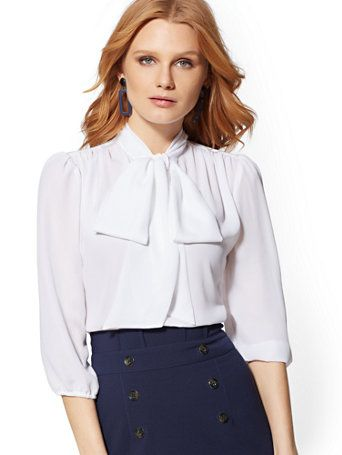 48e4556752404 Shop 7th Avenue - V-Neck Bow Blouse. Find your perfect size online at the  best price at New York   Company.