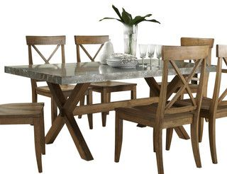 Liberty Furniture Keaton 76x38 Rectangular Trestle Dining Table w/Metal Top - Traditional - Dining Tables - by eFurniture Mart