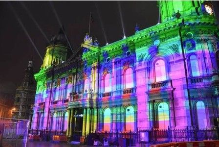 Spectacular lighting for City of Culture Made in Hull shows buildings bathed in rainbow of colours... Mortgage Broker in Hull - http://hullmoneyman.com - #Hull2017 #CityofCulture #Mortgagebroker