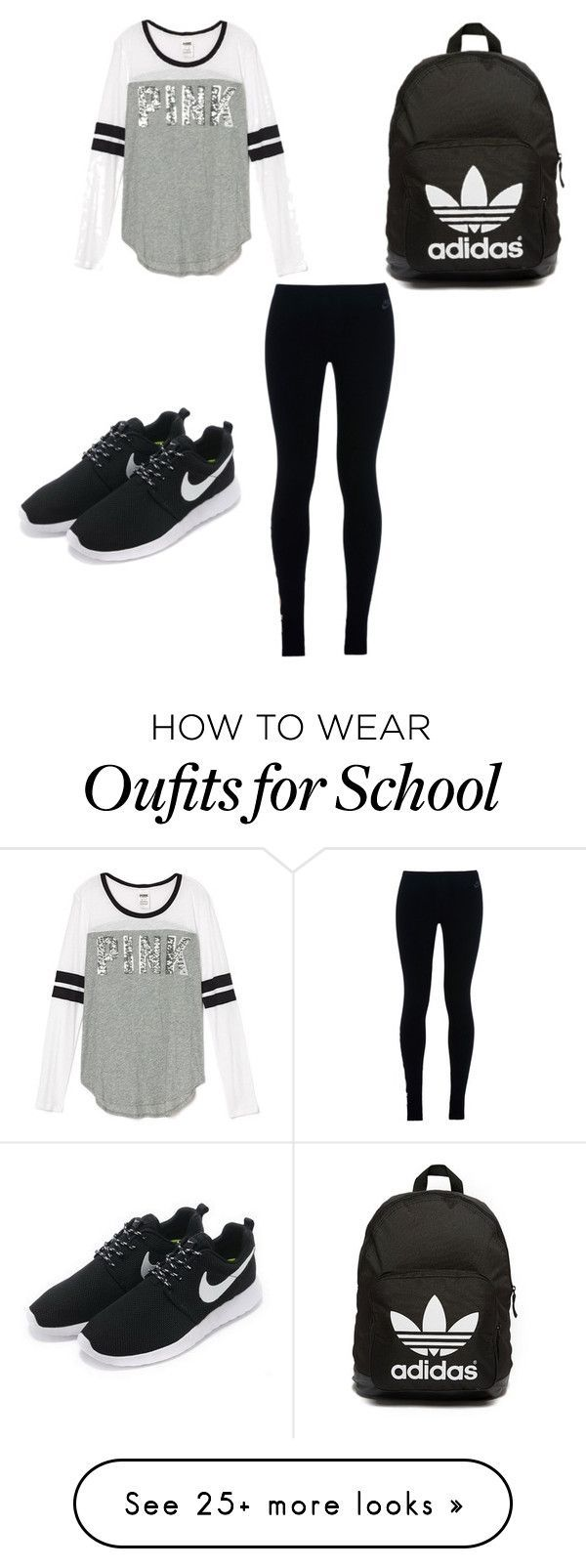"""School"" by g-r-a-c-e-13 on Polyvore featuring NIKE and adidas Originals"