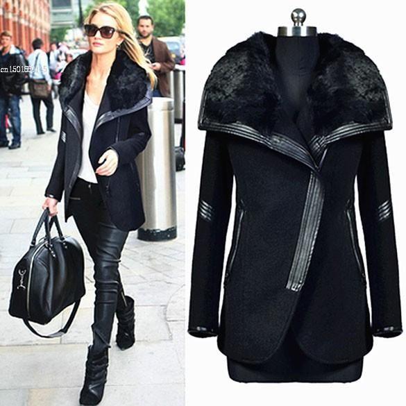 New Winter Woolen Coat Warm Black Big Fur Collar Zipper Lady Overcoats