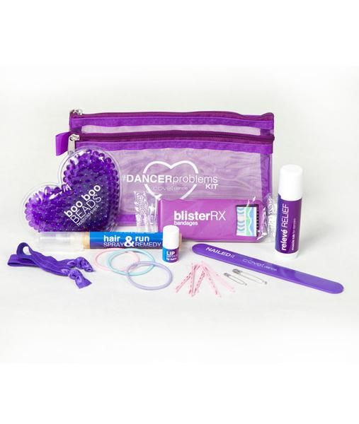 Dancer Problems Kit of clever remedies to common dancer problems. The pouch is filled with solutions for everyday emergencies dancers face during practice and p