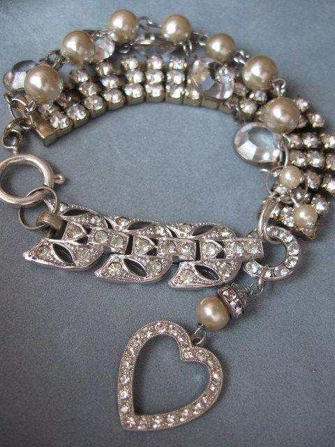 Simple Opulence    vintage repurposed bracelet   58 00  via Etsy