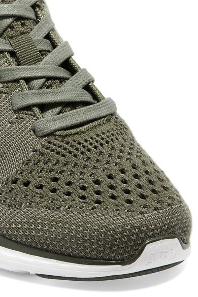 Athletic Propulsion Labs - Techloom Pro Cashmere-blend Mesh Sneakers - Army green - US9.5