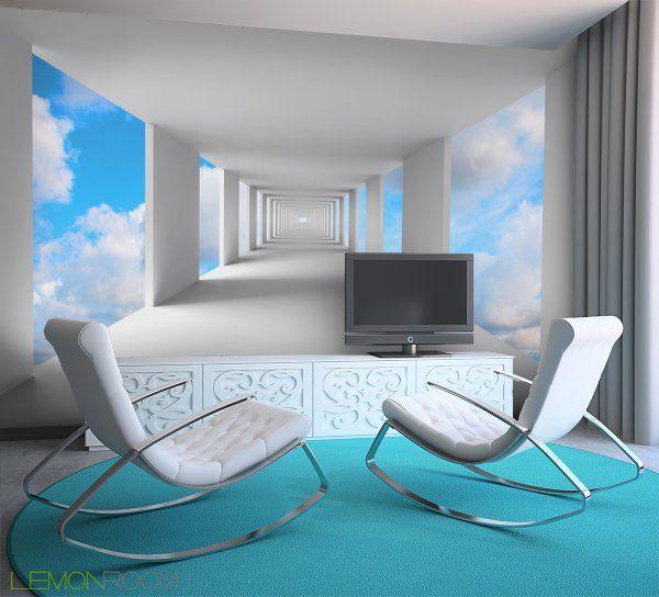 #Fototapeta z aranżacji ➡ http://lemonroom.pl/fototapeta-33-Przestrzenne-70724181-Abstract-d-architecture-empty-white-corridor-with-sky.html   #Fototapety #wallmurals #interiordesign #walldecor #wystrojwnetrz