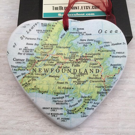 Newfoundland Map Christmas Ornament Your Special Place in the