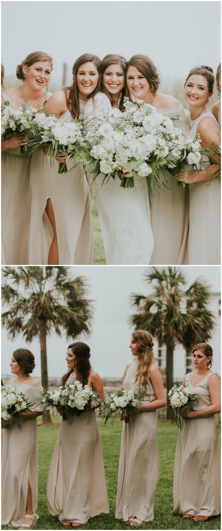 Neutral bridal party, tropical Florida wedding, white wedding bouquets, tan bridesmaid dresses, mismatched styles // Jessi Field Photography