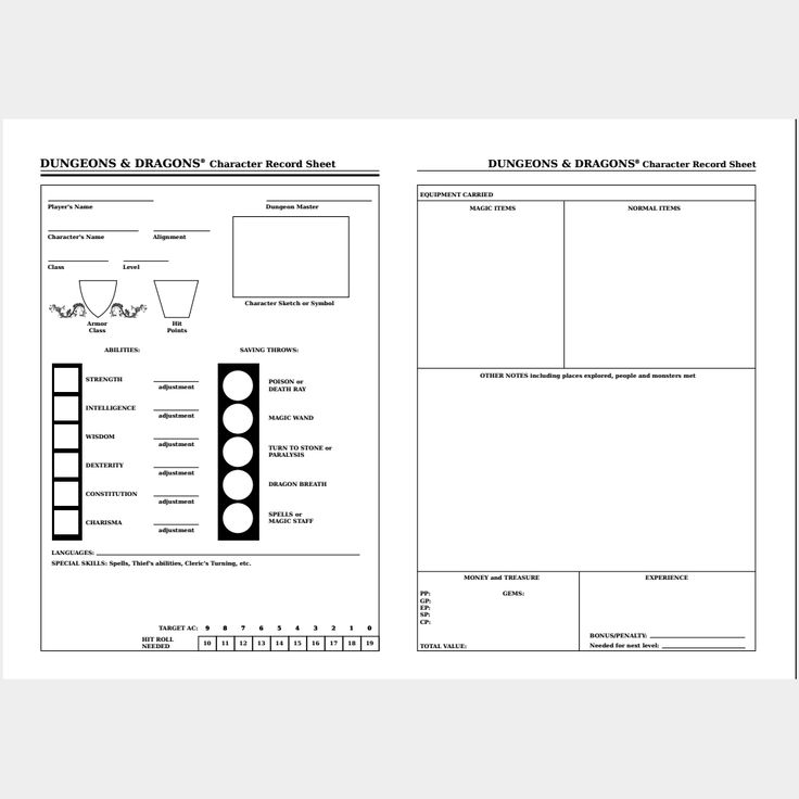 Basic Dungeons and Dragons Replica Sheet