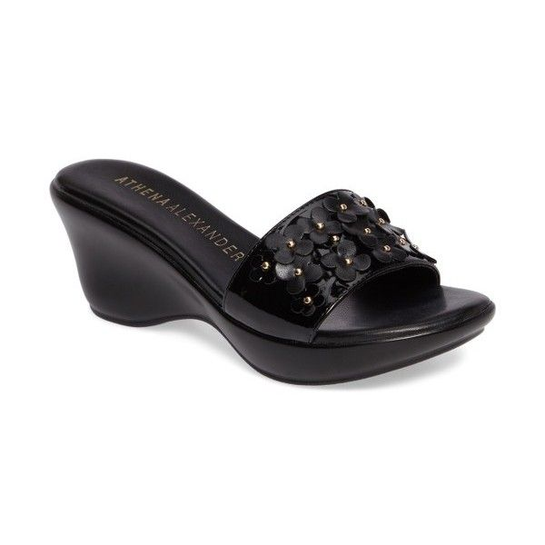 Women's Athena Alexander Allegra Wedge Slide ($90) ❤ liked on Polyvore featuring shoes, sandals, black faux leather, black strappy sandals, black studded sandals, black platform sandals, wedge slide sandals and platform wedge sandals