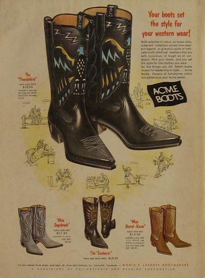 1963 Acme Cowboy Boots Vintage Ad ~ The Thunderbird