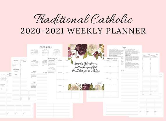 2020 2021 Traditional Latin Catholic Weekly Planner Printable Latin Mass Tridentine Mass Litu In 2020 Weekly Planner Printable Catholic Weekly Planner
