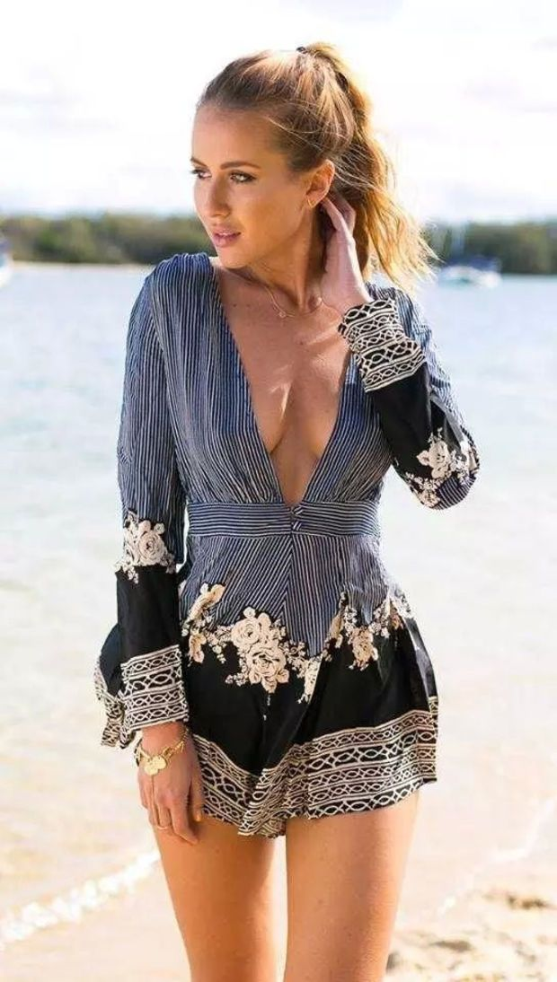 $16.25 + Free Shipping | Stripe Floral Print V-neck Long Sleeve Romper