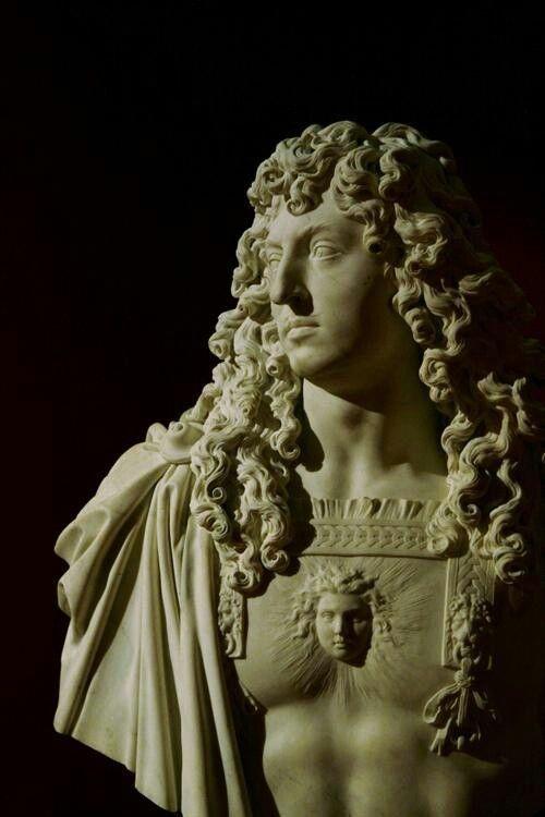 An idealized sculpture of the Sun King-- Louis XIV.