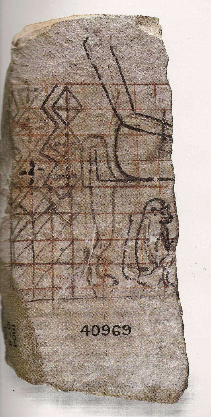 Ostracon figuré biface : esquice. 1550-1069 av JC. 18e-20e dyn. L'art du contour - Le dessin dans l'Égypte ancienne.
