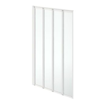 Clarity folding 4 panel straight shower bath screen white
