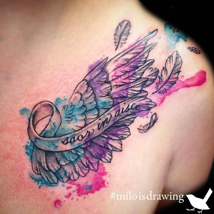This piece was for the client's uncle who is fighting thyroid cancer. Tattoo by Milo (@miloisdrawing) #liquidambertattoo #watercolor #watercolour #watercolortattoo #watercolourtattoo #cancer...