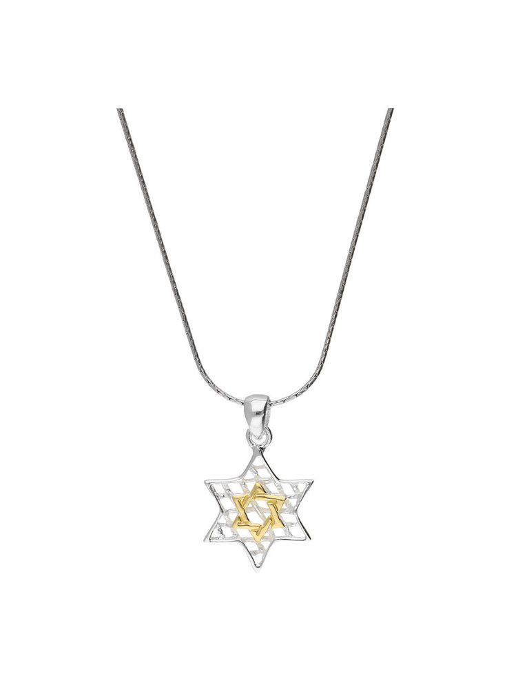Handcrafted 925 Sterling Silver & gold plated Star of David pendant necklace. A creation featuring a fine silver chain adorned with a gorgeous silver Star of David charm displaying delicate web detailing, showcasing a lustered gold plated Star of David core. This splendid two-tone piece of jewelry is best matched with a clean and elegant tailored office outfit.